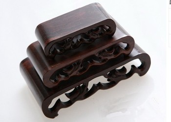 3 pcs hard Wood Stand of Netsuke Snuff bottle Carving Display
