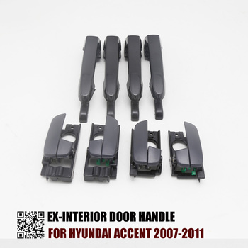 8PCS BLACK EXTERIOR BLACK INTERIOR  DOOR HANDLE FOR HYUNDAI ACCENT 2007-2011 2007 2008 2009 2010 2011