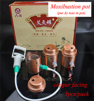 Household moxibustion pot vacuum copper facing cupping 3pcs/set Ay Tsao/asiatic wormwood acupuncture moxibustion pot